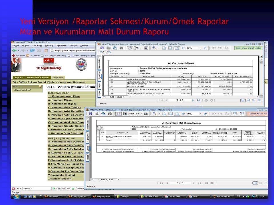 Yeni Versiyon /Raporlar Sekmesi/Kurum/Örnek Raporlar