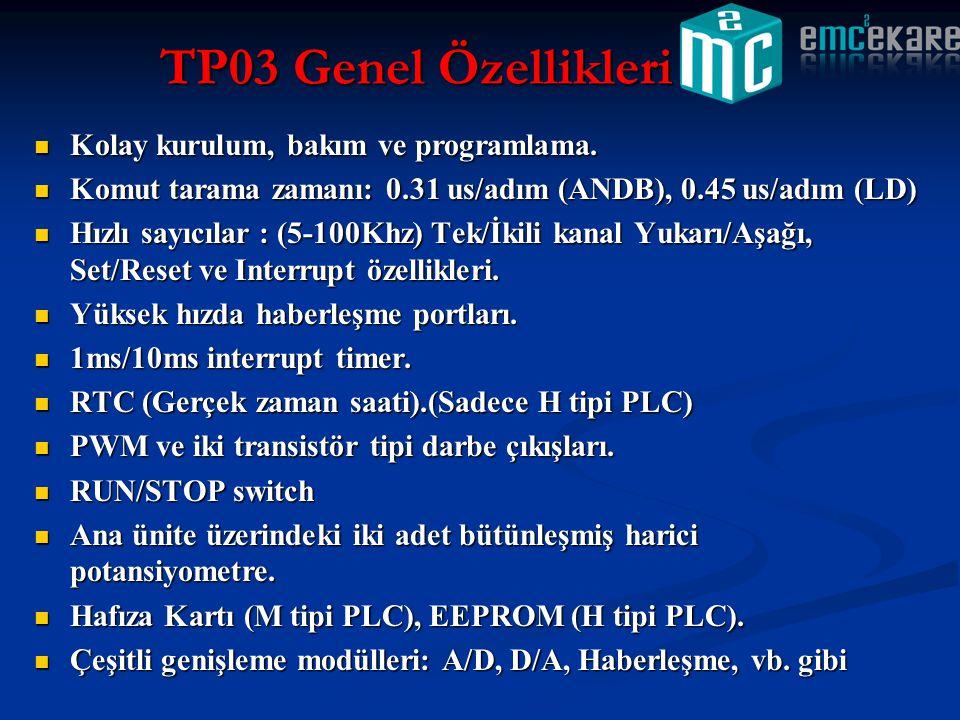 TP03 Genel Özellikleri Kolay kurulum, bakım ve programlama.