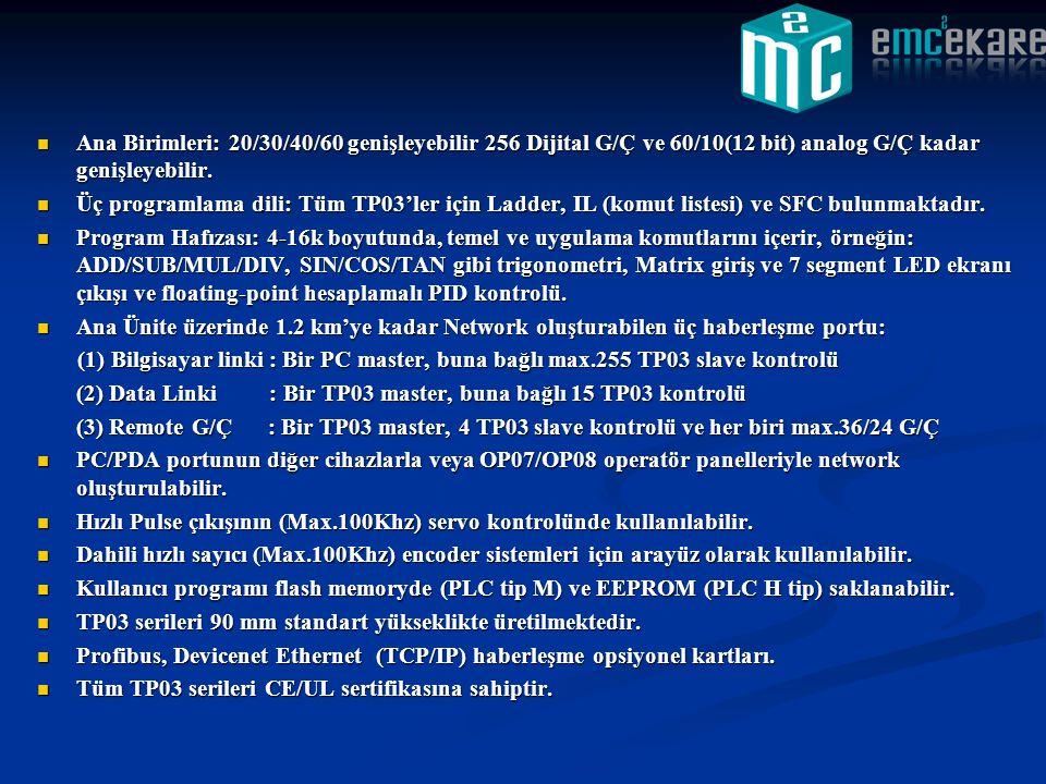 Ana Birimleri: 20/30/40/60 genişleyebilir 256 Dijital G/Ç ve 60/10(12 bit) analog G/Ç kadar genişleyebilir.