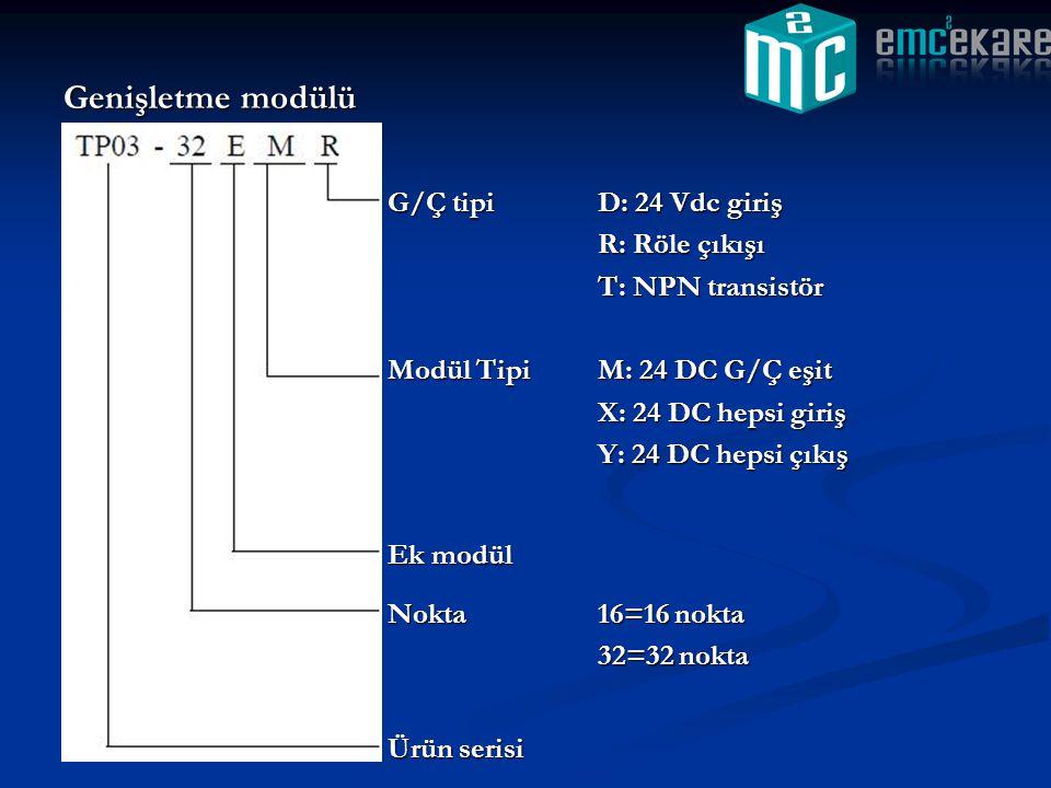 Genişletme modülü G/Ç tipi D: 24 Vdc giriş R: Röle çıkışı