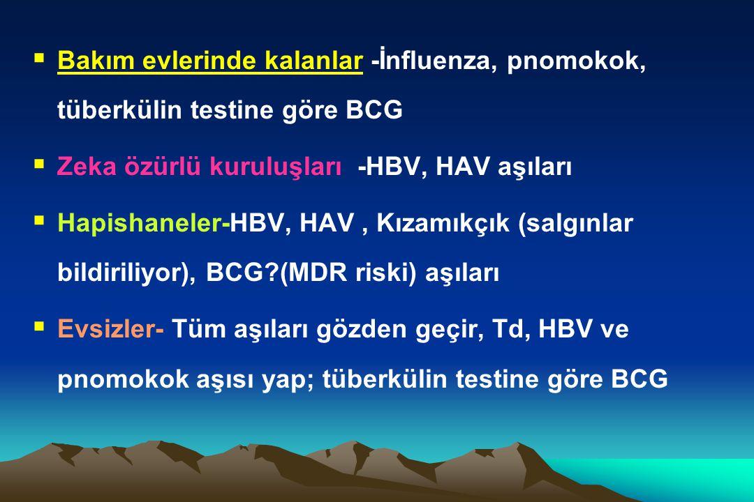 Bakım evlerinde kalanlar -İnfluenza, pnomokok, tüberkülin testine göre BCG