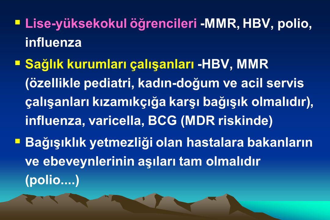 Lise-yüksekokul öğrencileri -MMR, HBV, polio, influenza