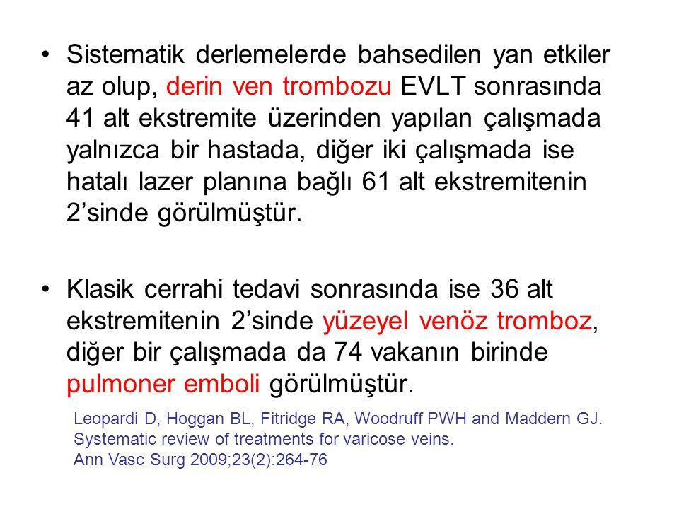 Sistematik derlemelerde bahsedilen yan etkiler az olup, derin ven trombozu EVLT sonrasında 41 alt ekstremite üzerinden yapılan çalışmada yalnızca bir hastada, diğer iki çalışmada ise hatalı lazer planına bağlı 61 alt ekstremitenin 2'sinde görülmüştür.