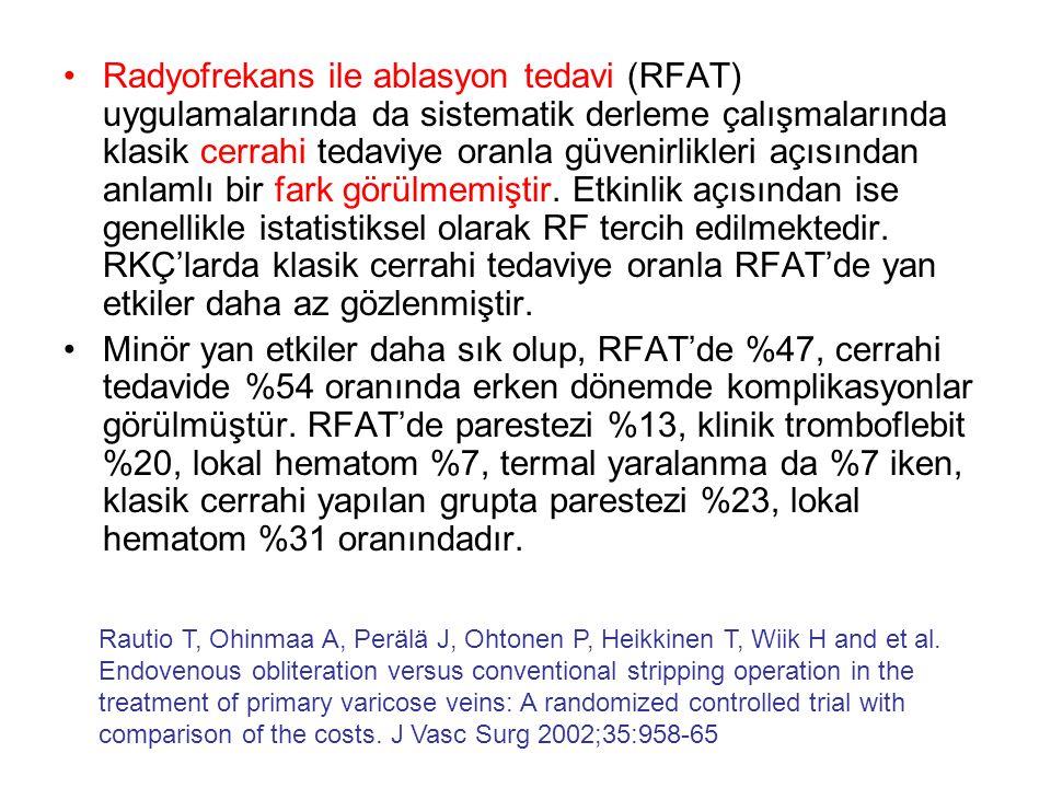 Radyofrekans ile ablasyon tedavi (RFAT) uygulamalarında da sistematik derleme çalışmalarında klasik cerrahi tedaviye oranla güvenirlikleri açısından anlamlı bir fark görülmemiştir. Etkinlik açısından ise genellikle istatistiksel olarak RF tercih edilmektedir. RKÇ'larda klasik cerrahi tedaviye oranla RFAT'de yan etkiler daha az gözlenmiştir.