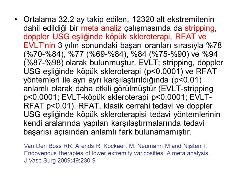 Ortalama 32.2 ay takip edilen, 12320 alt ekstremitenin dahil edildiği bir meta analiz çalışmasında da stripping, doppler USG eşliğinde köpük skleroterapi, RFAT ve EVLT nin 3 yılın sonundaki başarı oranları sırasıyla %78 (%70-%84), %77 (%69-%84), %84 (%75-%90) ve %94 (%87-%98) olarak bulunmuştur. EVLT; stripping, doppler USG eşliğinde köpük skleroterapi (p<0.0001) ve RFAT yöntemleri ile ayrı ayrı karşılaştırıldığında (p<0.01) anlamlı olarak daha etkili görülmüştür (EVLT-stripping p<0.0001; EVLT-köpük skleroterapi p<0.0001; EVLT-RFAT p<0.01). RFAT, klasik cerrahi tedavi ve doppler USG eşliğinde köpük skleroterapisi tedavi yöntemlerinin kendi aralarında yapılan karşılaştırmalarında tedavi başarısı açısından anlamlı fark bulunamamıştır.