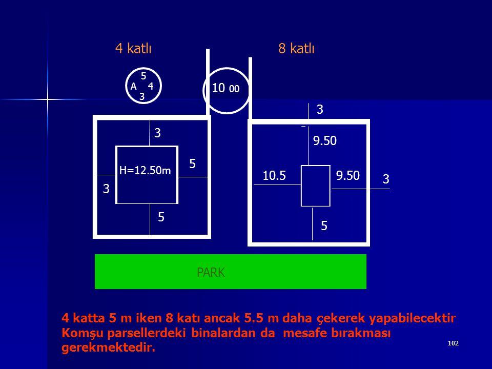 5 A 4. 3. 10 00. 9.50. 10.5. 4 katlı. 8 katlı. PARK. H=12.50m.