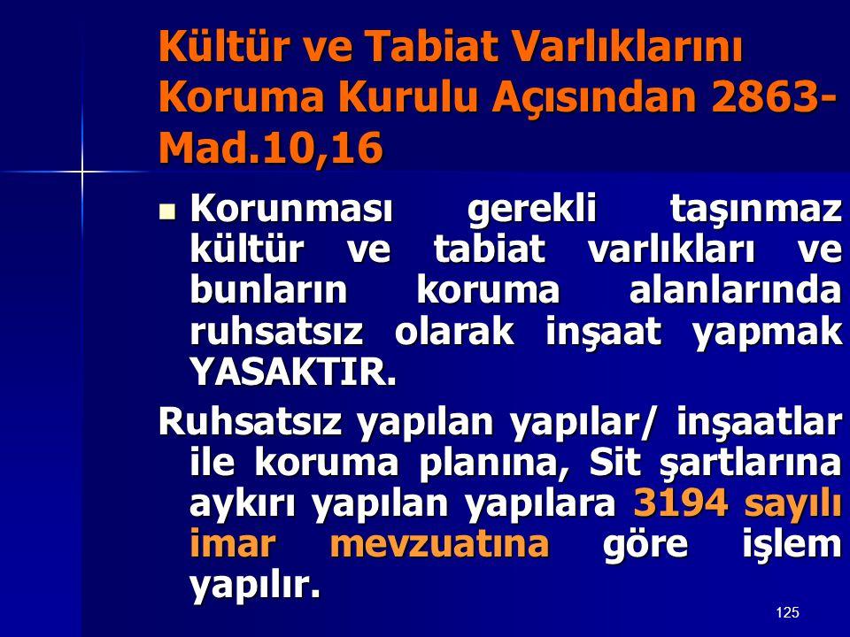 Kültür ve Tabiat Varlıklarını Koruma Kurulu Açısından 2863-Mad.10,16