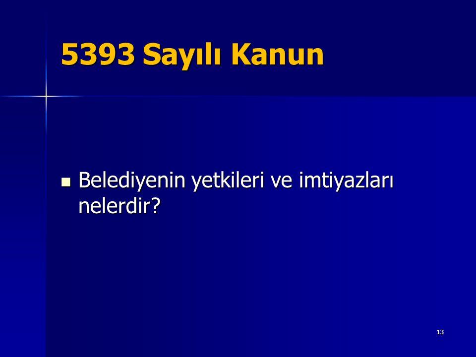 5393 Sayılı Kanun Belediyenin yetkileri ve imtiyazları nelerdir