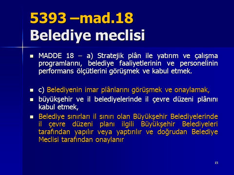 5393 –mad.18 Belediye meclisi