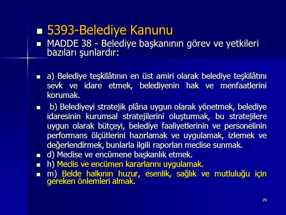 5393-Belediye Kanunu MADDE 38 - Belediye başkanının görev ve yetkileri bazıları şunlardır: