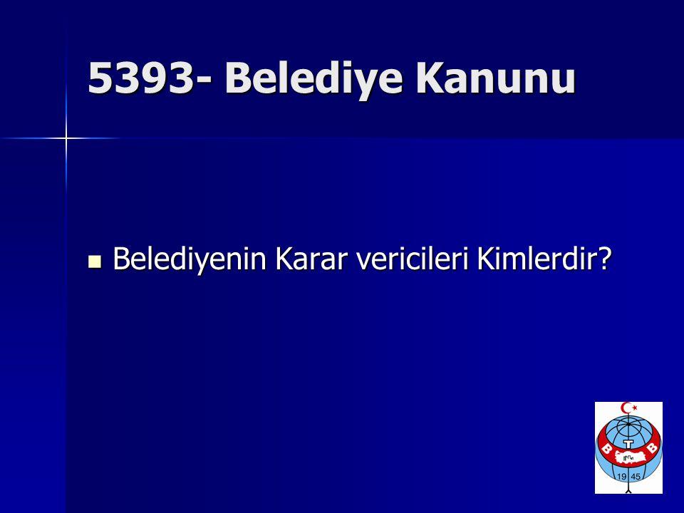 5393- Belediye Kanunu Belediyenin Karar vericileri Kimlerdir