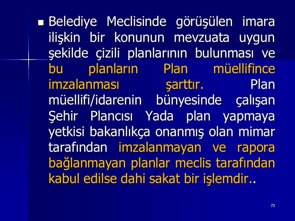 Belediye Meclisinde görüşülen imara ilişkin bir konunun mevzuata uygun şekilde çizili planlarının bulunması ve bu planların Plan müellifince imzalanması şarttır.