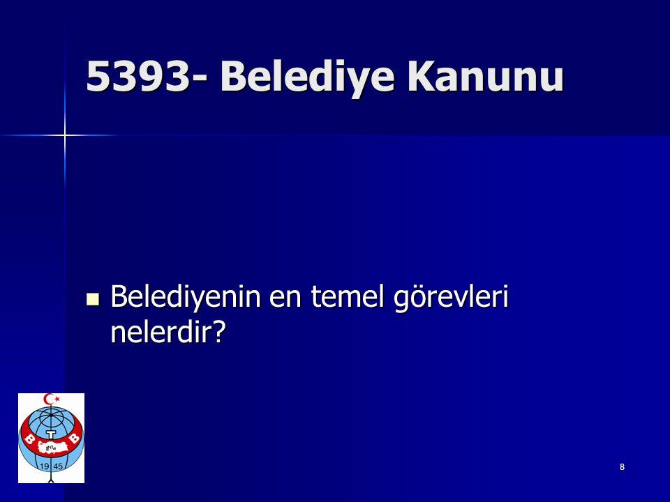 5393- Belediye Kanunu Belediyenin en temel görevleri nelerdir