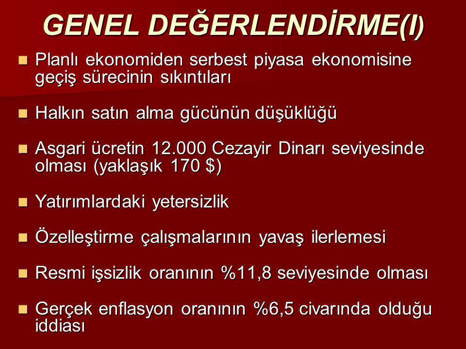 GENEL DEĞERLENDİRME(I)