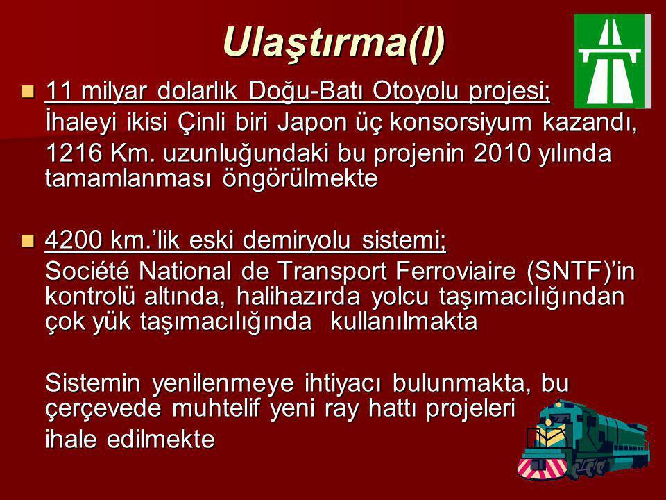 Ulaştırma(I) 11 milyar dolarlık Doğu-Batı Otoyolu projesi;