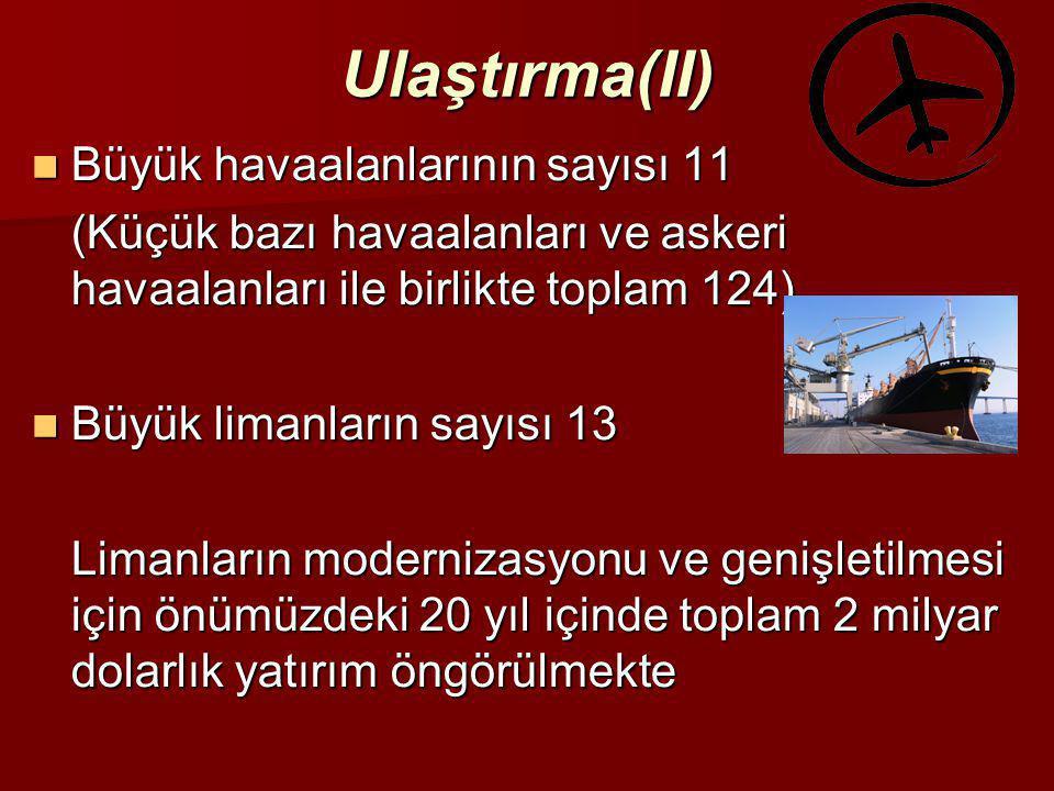 Ulaştırma(II) Büyük havaalanlarının sayısı 11