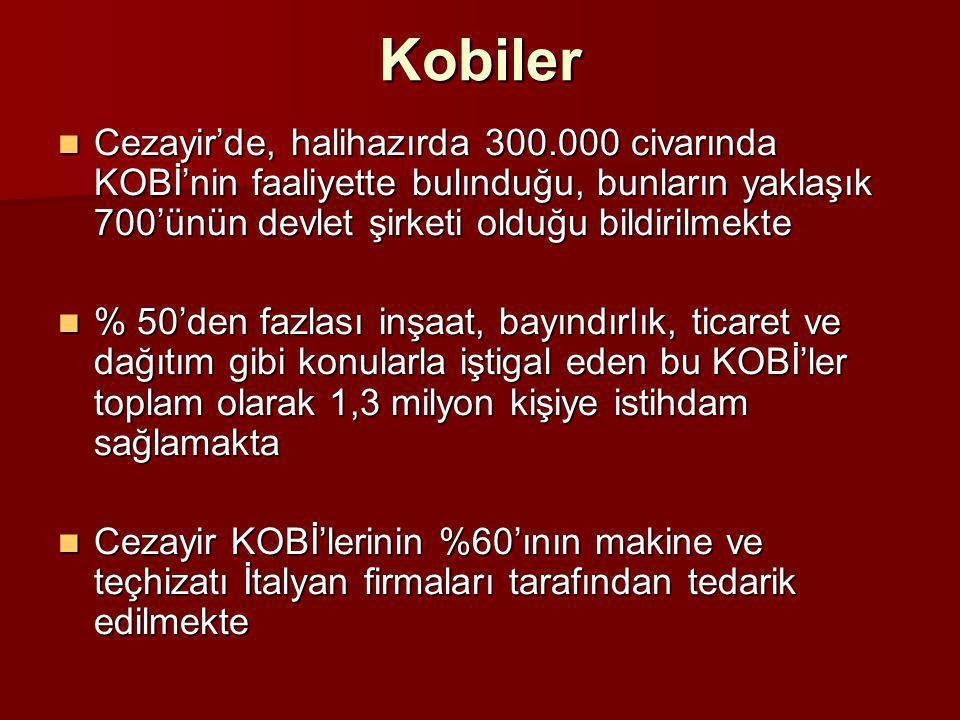 Kobiler Cezayir'de, halihazırda 300.000 civarında KOBİ'nin faaliyette bulınduğu, bunların yaklaşık 700'ünün devlet şirketi olduğu bildirilmekte.
