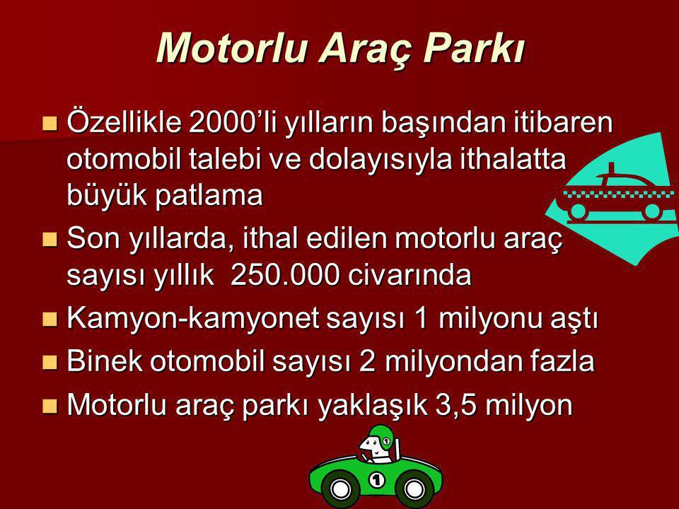 Motorlu Araç Parkı Özellikle 2000'li yılların başından itibaren otomobil talebi ve dolayısıyla ithalatta büyük patlama.