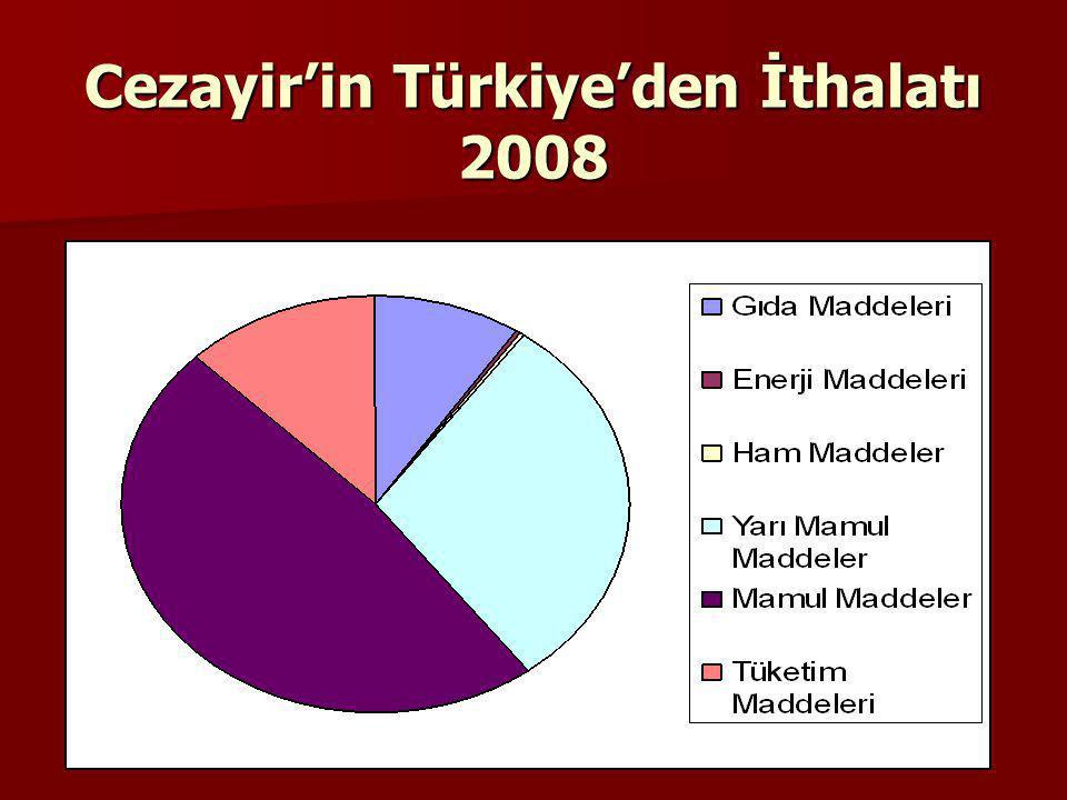 Cezayir'in Türkiye'den İthalatı 2008