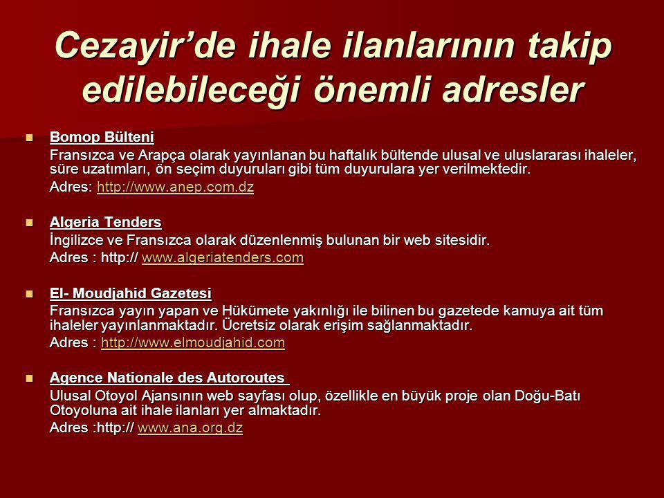 Cezayir'de ihale ilanlarının takip edilebileceği önemli adresler