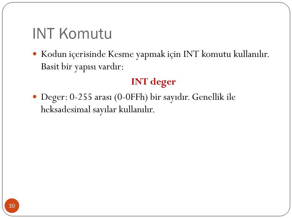 INT Komutu Kodun içerisinde Kesme yapmak için INT komutu kullanılır. Basit bir yapısı vardır: INT deger.