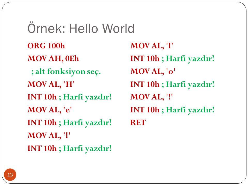 Örnek: Hello World ORG 100h MOV AH, 0Eh ; alt fonksiyon seç.