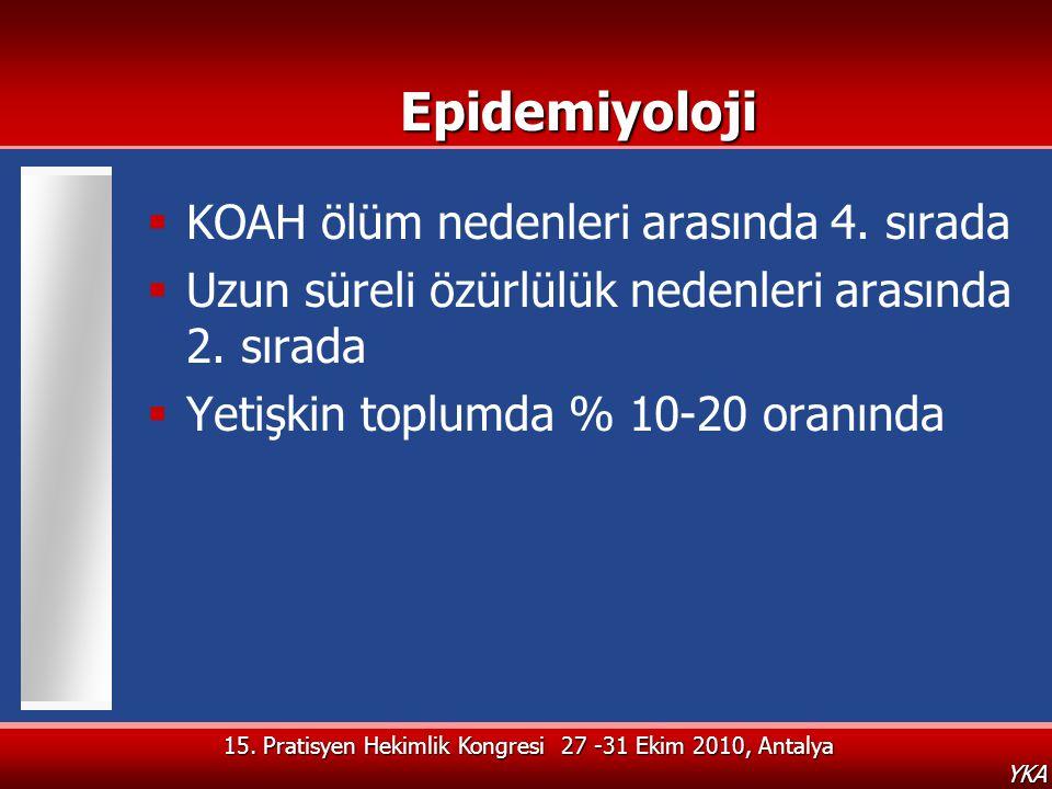 Epidemiyoloji KOAH ölüm nedenleri arasında 4. sırada