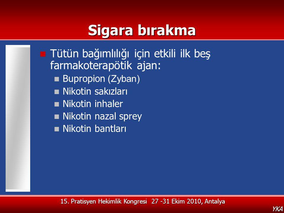 Sigara bırakma Tütün bağımlılığı için etkili ilk beş farmakoterapötik ajan: Bupropion (Zyban) Nikotin sakızları.