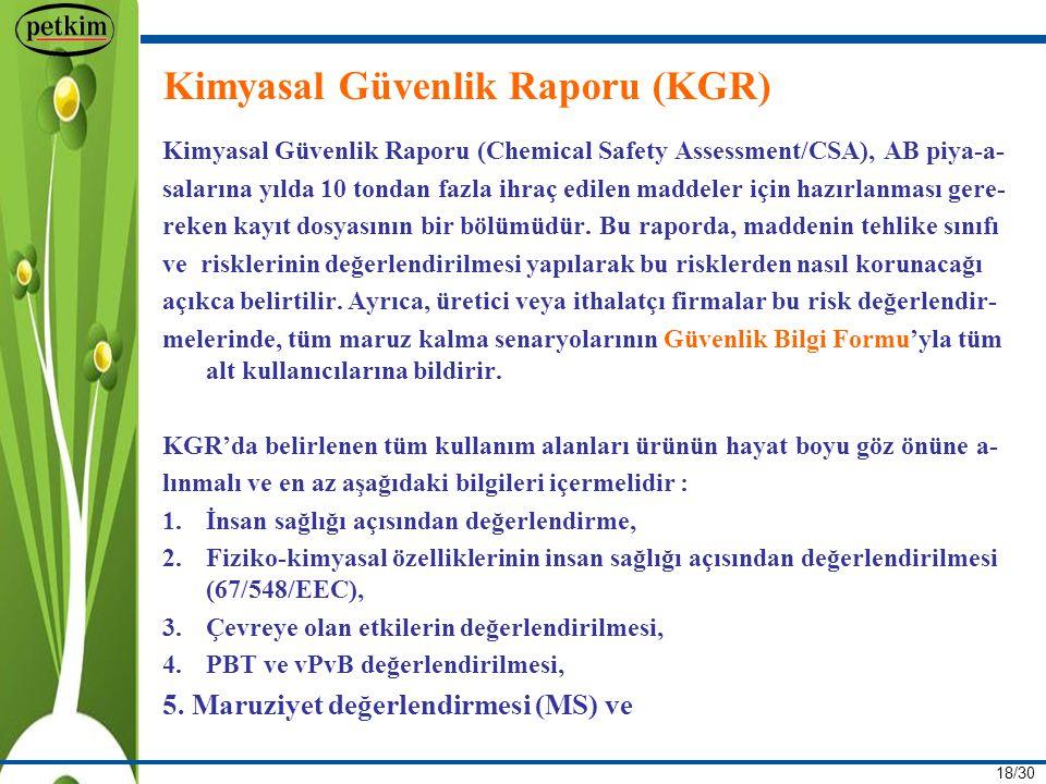 Kimyasal Güvenlik Raporu (KGR)