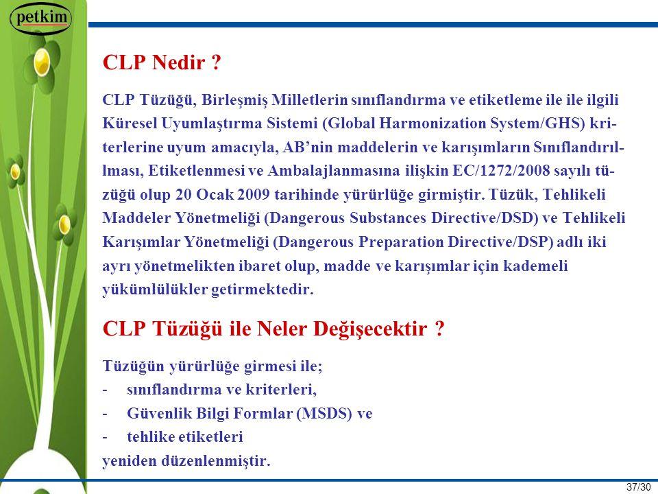 CLP Tüzüğü ile Neler Değişecektir