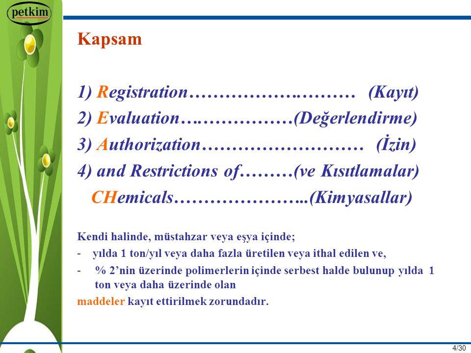 1) Registration……………….……… (Kayıt) 2) Evaluation….……………(Değerlendirme)