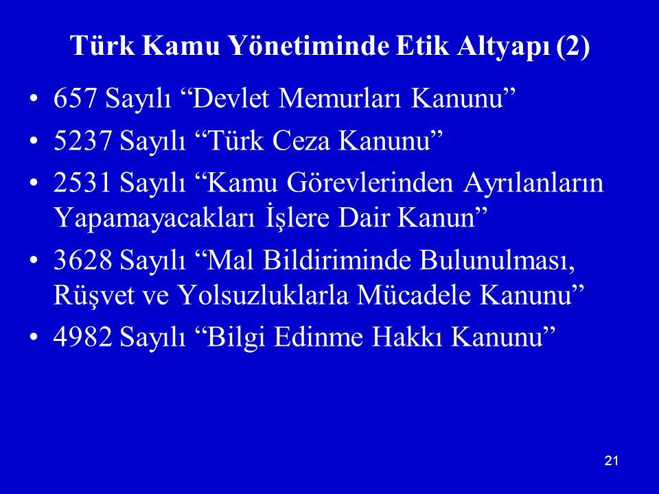 Türk Kamu Yönetiminde Etik Altyapı (2)