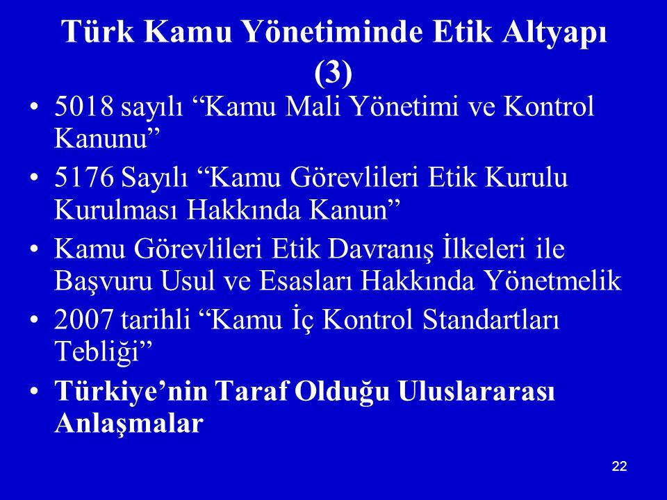 Türk Kamu Yönetiminde Etik Altyapı (3)