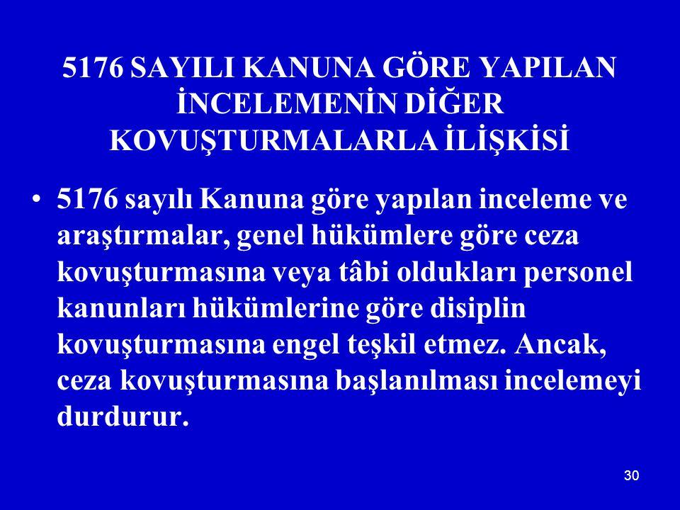 5176 SAYILI KANUNA GÖRE YAPILAN İNCELEMENİN DİĞER KOVUŞTURMALARLA İLİŞKİSİ