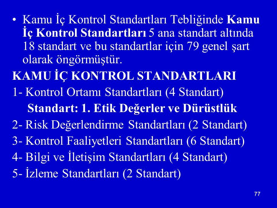 Kamu İç Kontrol Standartları Tebliğinde Kamu İç Kontrol Standartları 5 ana standart altında 18 standart ve bu standartlar için 79 genel şart olarak öngörmüştür.