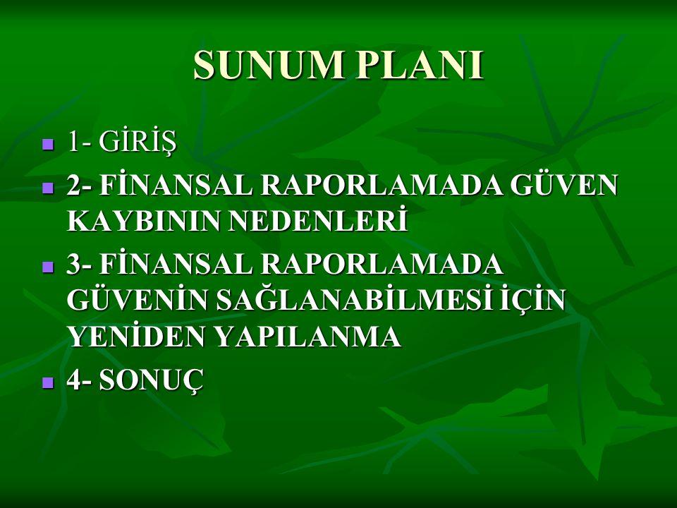SUNUM PLANI 1- GİRİŞ 2- FİNANSAL RAPORLAMADA GÜVEN KAYBININ NEDENLERİ