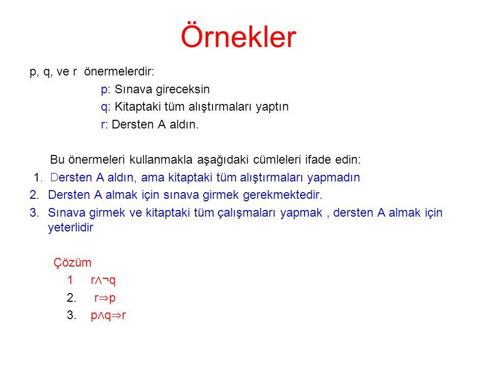 Örnekler p, q, ve r önermelerdir: p: Sınava gireceksin
