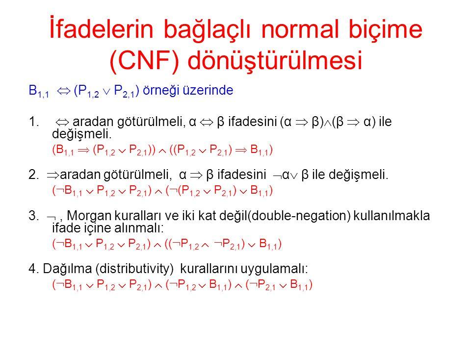 İfadelerin bağlaçlı normal biçime (CNF) dönüştürülmesi