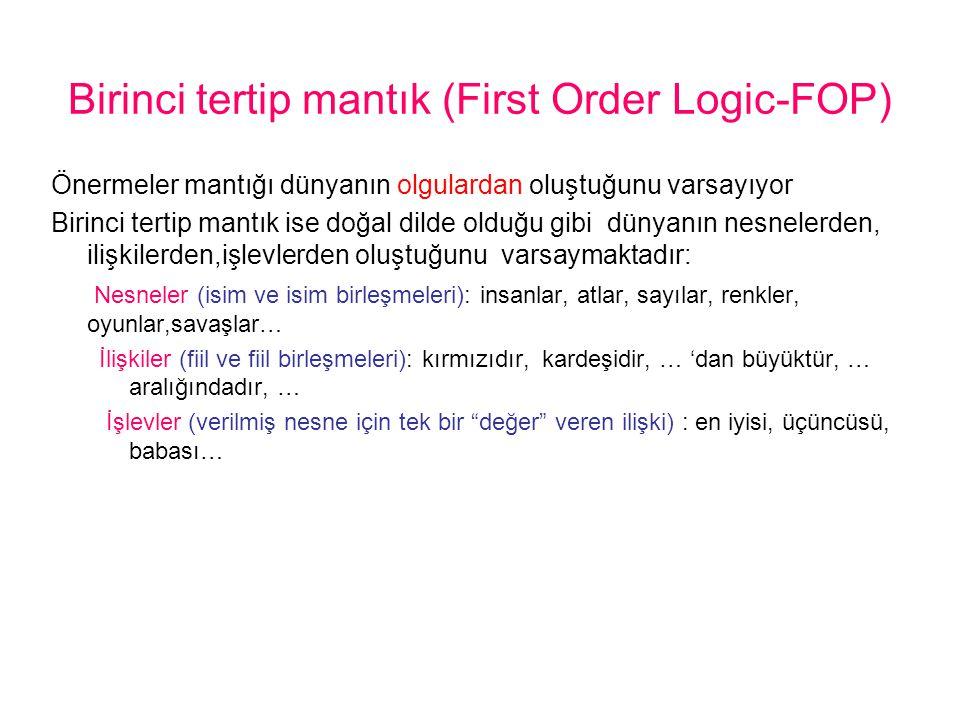 Birinci tertip mantık (First Order Logic-FOP)
