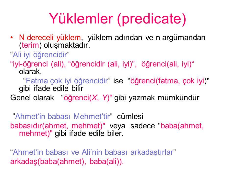 Yüklemler (predicate)