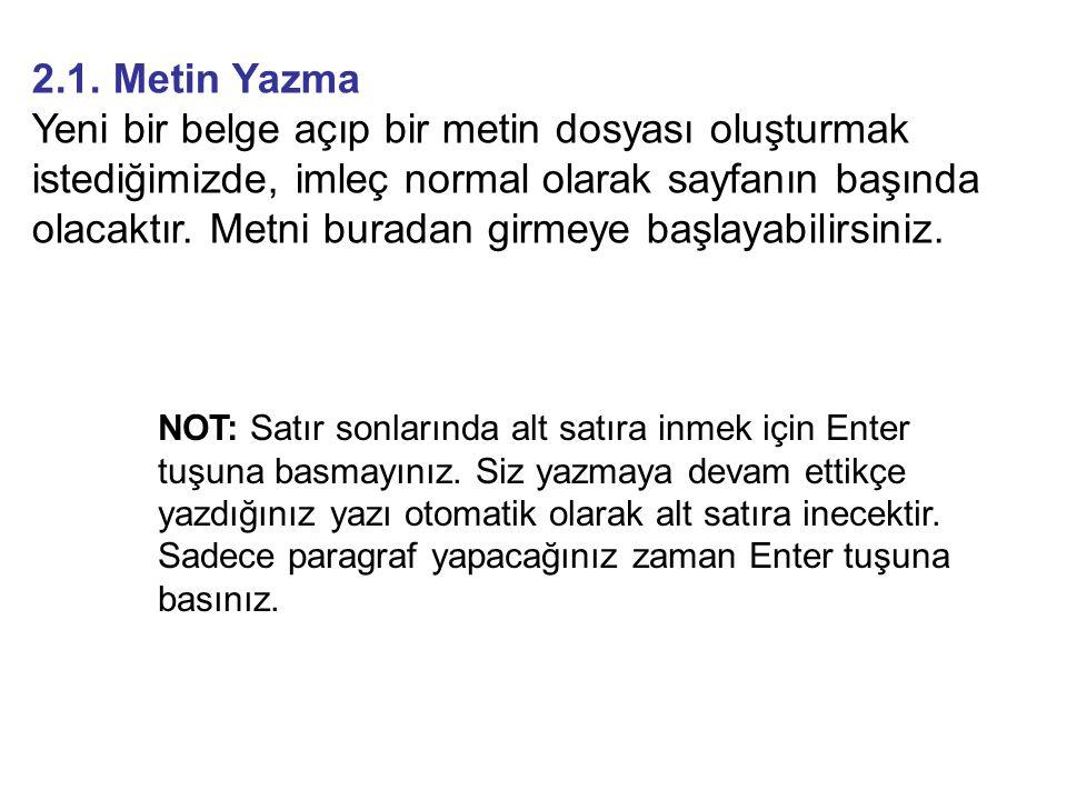 2.1. Metin Yazma