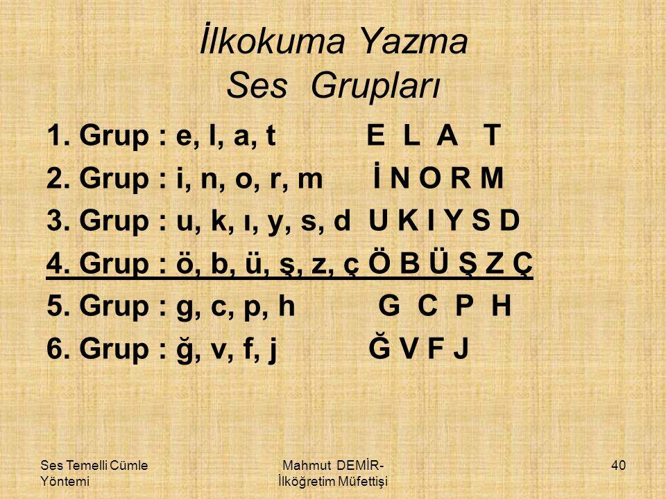 İlkokuma Yazma Ses Grupları