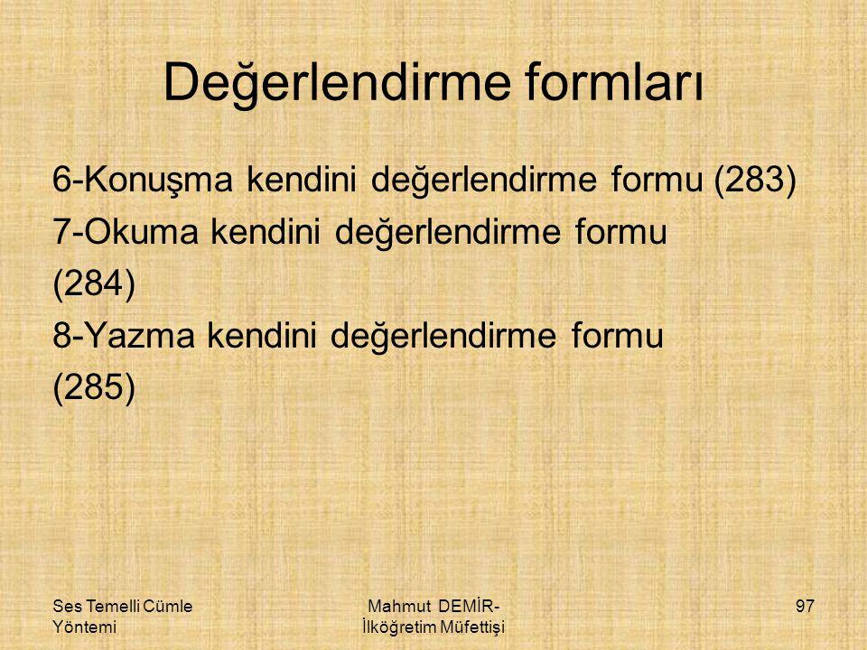 Değerlendirme formları