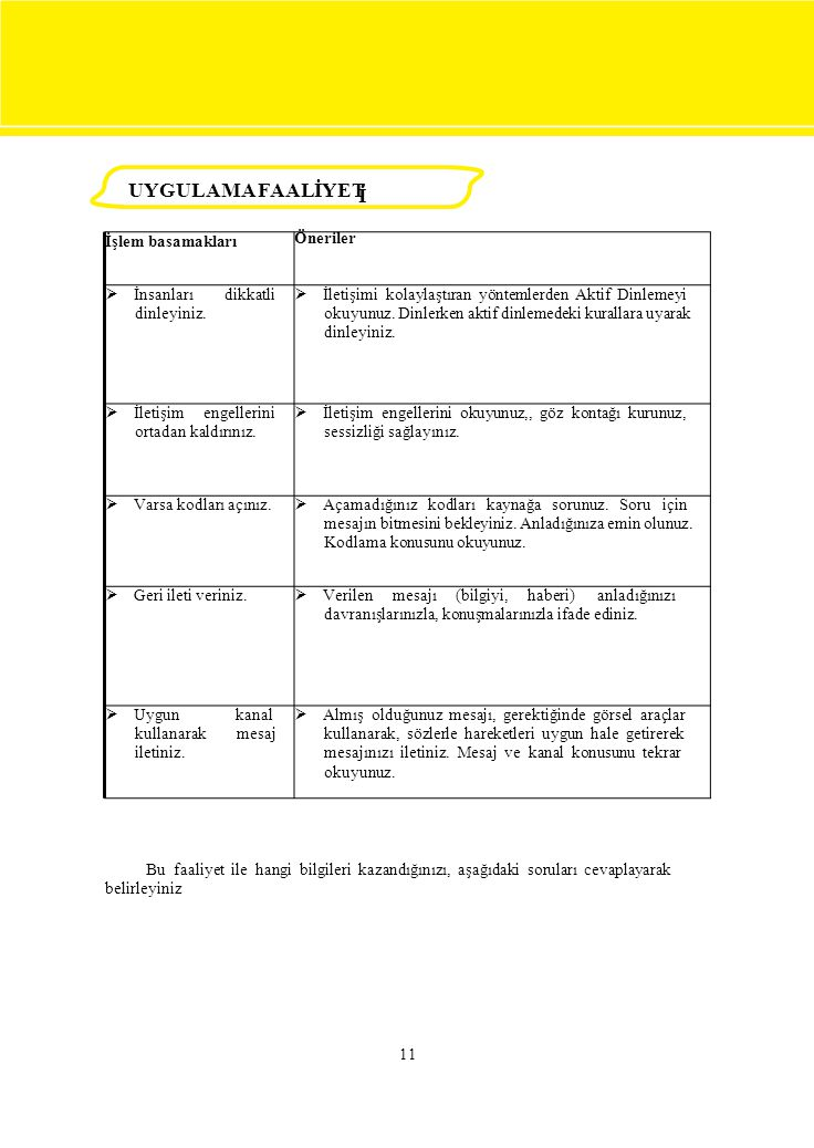 UYGULAMA FAALİYETİ İ UYGULAMA FAALİYET İşlem basamakları Öneriler