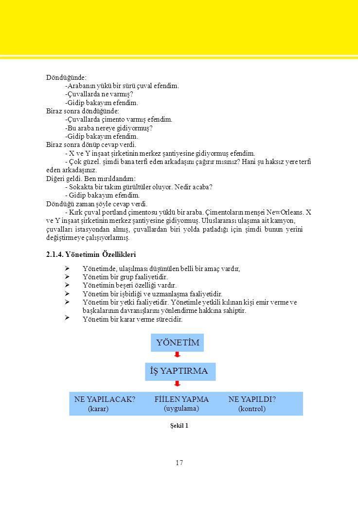 İŞ YAPTIRMA 2.1.4. Yönetimin Özellikleri NE YAPILACAK (karar)