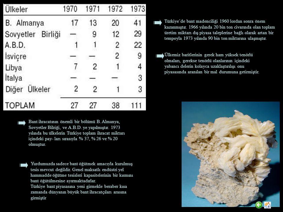 Türkiye'de bant madenciliği 1960 lordan sonra önem kazanmıştır