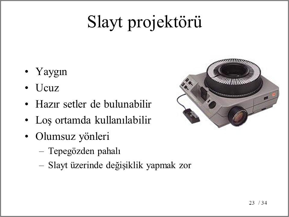 Slayt projektörü Yaygın Ucuz Hazır setler de bulunabilir
