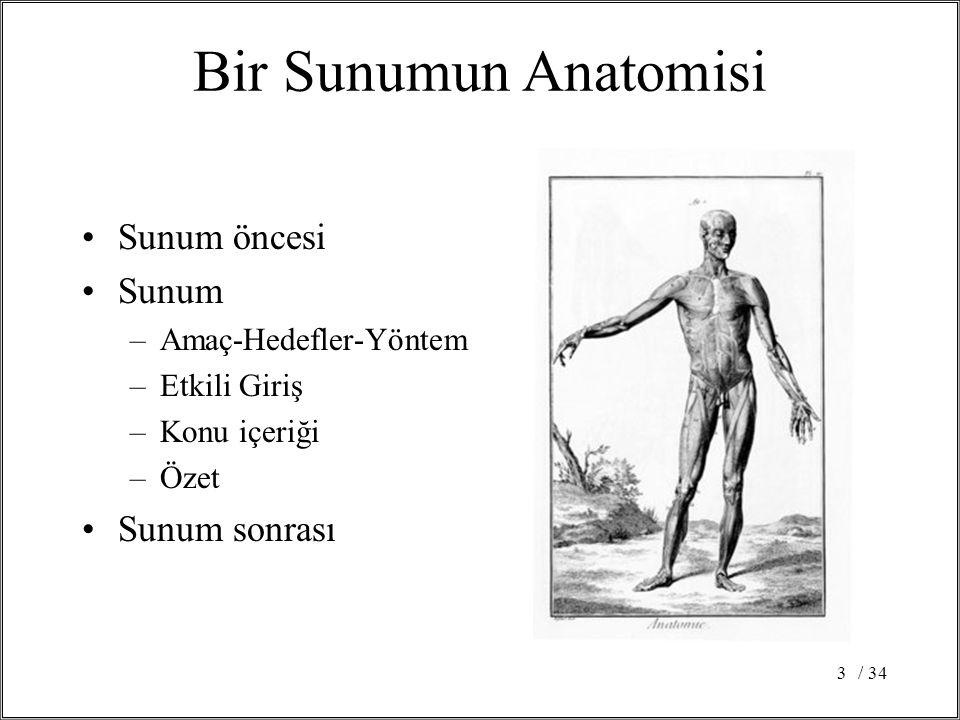 Bir Sunumun Anatomisi Sunum öncesi Sunum Sunum sonrası