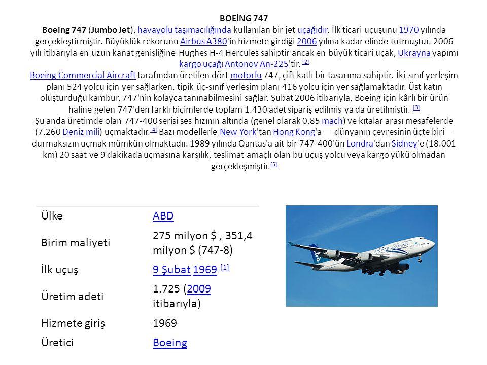 Ülke ABD Birim maliyeti 275 milyon $ , 351,4 milyon $ (747-8) İlk uçuş
