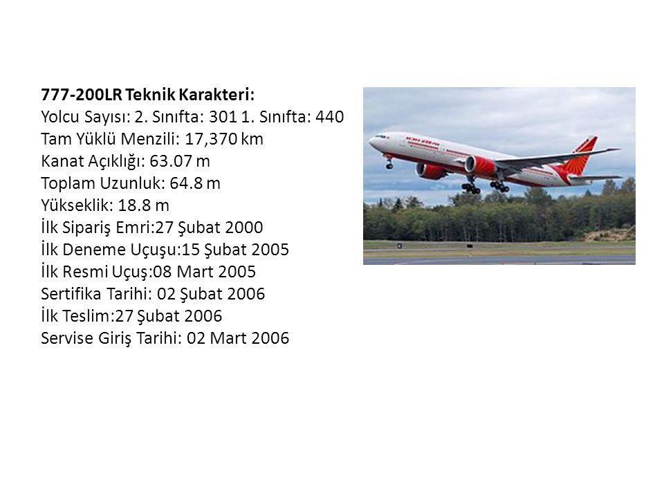 777-200LR Teknik Karakteri: Yolcu Sayısı: 2. Sınıfta: 301 1